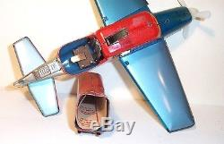 NICE 1950's BATTERY OPERATED SHOOTING FIGHTER MIB TIN LITHO AIRPLANE TOY JAPAN