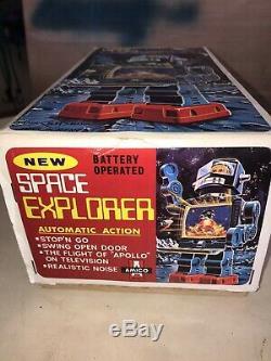 NOS 1960s Space Explorer TV Robot HORIKAWA Original Box MIB New Beautiful