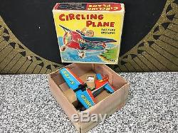 NOS Unused CIRCLING PLANE Tin Vintage Battery Operated MIB Japan AHI Toy NRFB