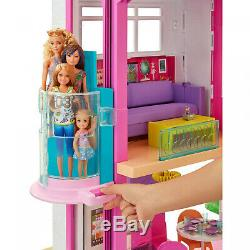 New Giant Barbie DreamHouse Dollhouse Playset 70 Pieces Pink Toy Gift For Girls