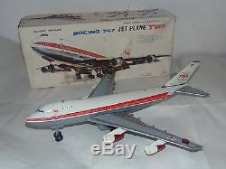 Nomura TWA Boeing 747 Plane Airlines Airplane Vintage Battery Operated Tin Toy