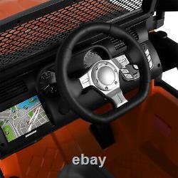 Orange Ride On Car Kids Truck 12V Electric Battery Remote Control MP3 LED Lights