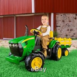 Peg Perego John Deere Ground Tractor & Trailer Battery Powered Riding Toy