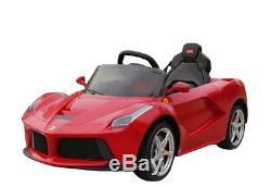 Power 12V Battery Ferrari Wheels Ride On Car Remote Control Music LED Screen Red