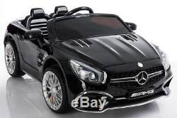 Power 12V Wheels Mercedes SL65 Ride On Car Remote Control Music LED Screen Black