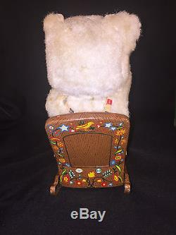 RARE! 1960s MODERN TOYS BATTERY OPERATED TIN MAKE UP BEAR TOY JAPAN