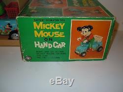 Rare Battery Operated Masudaya Mickey Mouse On Hand Car (1960's, Mint)