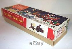 RARE MIB 1950s SANTA CLAUS ON REINDEER SLEIGH BATTERY OPERATED TIN LITHO MINT