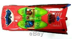 RARE Red Tin BATMOBILE Batman Robin Motor In The Back Lights Up Battery Operated