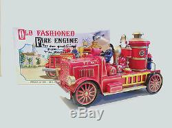 Rare Vintage Modern Toys Of Japan Battery Operated Old Fashioned Fire Engine