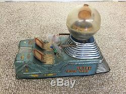 Rare Japan 1950's Tin Litho Battery Operated Moon Car Space Robot Toy Works
