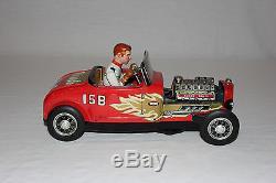 Rare TN Nomura Japan Tin Litho Battery Operated Hot Rod Race Car 15B EX L@@K