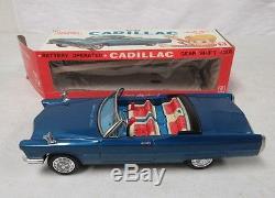 Rare Vintage Bandai Japan Tin Battery Op Gear Shift Cadillac MIB K734