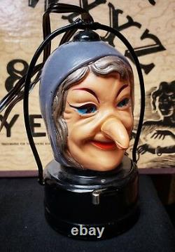 Rare Vintage Halloween Witch Battery Operated Toy Lantern Japan