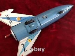 Rare Yonezawa XM-12 Moon Rocket Space Toy Mid Century Battery Operated (WORKING)