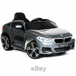Ride On BMW GT Car 12V Electric Powered Toy Car Remote Control Music Horn Silver