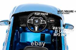 Ride On Car 12V Battery BMW Remote Control MP3 Music Open Door Leather Seat Blue