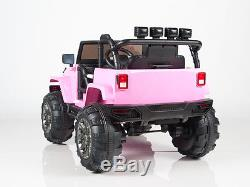 Ride On Car 12V Kids Power Wheels Jeep/Truck Remote Control RC Lights Music Pink