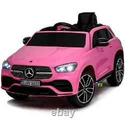 Ride On Car For Girls Mercedes with Remote Control Leather Seat 12V Battery Pink