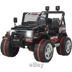 Ride On Car Kids Jeep 12V Electric Battery Remote Control Music LED Light BLACK