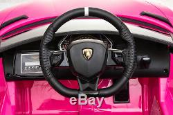 Ride On Car Lamborghini 12V Electric Toy For Kids Remote Control MP3 Lights Pink