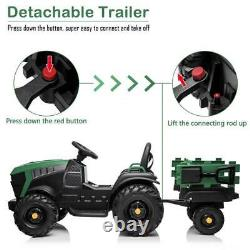 Ride On Car Tractor 12V Kids Toys Electric Battery MP3 Seat Belt Trailer GREEN