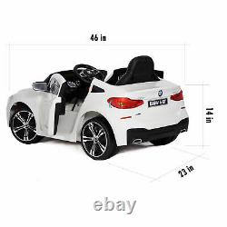 Ride On Cars 12V Battery Toy BMW Open Doors Remote Control MP3 Music Horn White