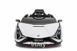Ride On Cars with Remote Control Lambo Sian 12V power USB MP4 Touch Screen White