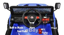 Ride On Toy 12V Electric Car 2 Seater Plastic Wheels Leather Seat LED Light Blue