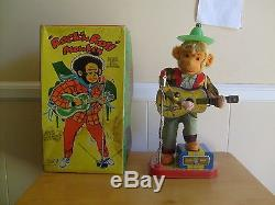 Rock N Roll Monkey with box, Batteryoperated tin toy, works