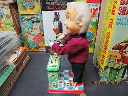 SAM THE SHAVING MAN BATTERY OPERATED IN BOX NEAR MINT WORKS 1960's