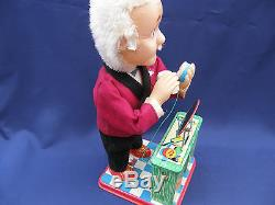 SAM THE SHAVING MAN VINTAGE 1960's BATTERY OPERATED WORKING TIN TOY ORIGINAL BOX