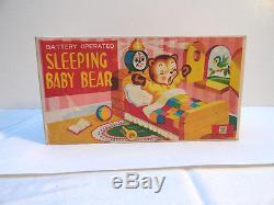 SLEEPING BABY BEAR BATTERY OP TOY MINT IN BOX