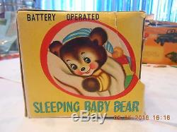 Sleeping Baby Bear Battery Operated Metal Toy 1950s Made in Japan with Box