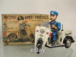 Tn Japan Battery Operater Motorcycle Tin Police Trike + Original Box