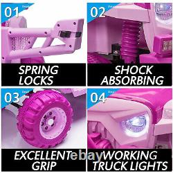 TOBBI 12V Kids Electric Battery-Powered Ride On Toy SUV Truck Car, Pink & Purple