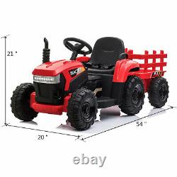 TOBBI 12V Kids Electric Battery-Powered Ride On Toy Tractor with Trailer, Red