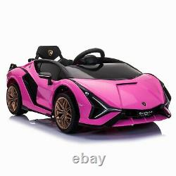TOBBI 12V Licensed Lamborghini Sian Pink Kids Ride On Car Toy with Remote Plastic