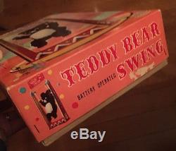 Teddy Bear Swing Vintage toy tin litho Yonezawa Japan battery operated Near Mint