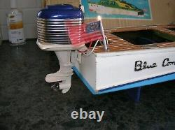 Toy Wood Boat Battery Operated Boat Toy Outboard Motor Mercury K&o Ito Boxed