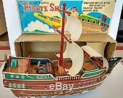 Trademark Masudaya Modern Toys Japan Vintage Battery Operated Pirate Ship Tin