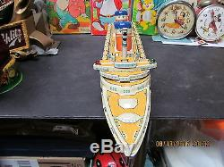 United States Tin Battery Operated Ship In Box 1955 Japan Works Near Mint