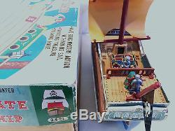 VERY RARE MODERN TOYS OF JAPAN VINTAGE BATTERY OPERATED PIRATE SHIP TIN TOY