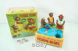 Vintage 1950s Fishing Bear Bank Battery Operated Tin Toy & Original Box Rosco