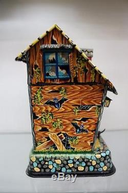 VINTAGE 1950s HOOTIN HOLLOW HAUNTED HOUSE BATTERY OPERATED TOY WORKING With BOX