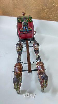 Vintage Antique Rare Japan Tin Toy Overland Stage Coach Battery Operated