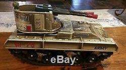 Vintage Battery Operated Tin Toy Army Tank M- 75 1960 Japan With Box Very Rare