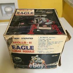 VINTAGE DAISHIN TIN B/O APOLLO-II AMERICAN EAGLE LUNAR MODULE 100% WORKING WithBOX