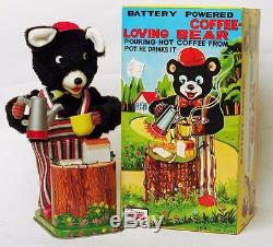 VINTAGE JAPAN BATTERY OPERATED COFFEE LOVING BEAR OLD STOCK WITH INSERTS
