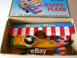 Vintage Japan Tin Litho Champion Bi-plane Battery Operated Mint In Orig. Box
